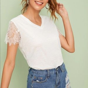 White lace sleeve v neck tee shirt top